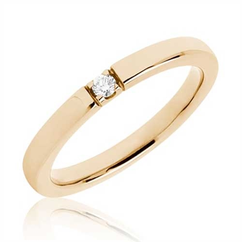 BARTOLI Alliancering i 14 kt. Guld med Diamant - 0,05 ct.