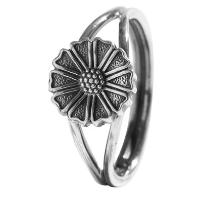 Lund Marguerit ring i oxyderet Sølv - 9,5 mm