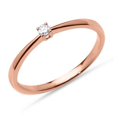 Forlovelsesring i 18 kt. Rosaguld med Diamant - fra 0,05 ct.