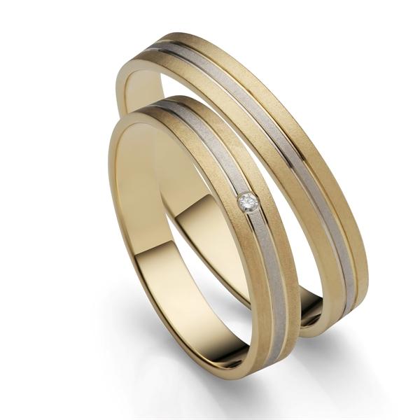 BARTOLI Duet vielsesringe i Guld & Hvidguld med Diamant 0,01 ct. - 3,5 mm