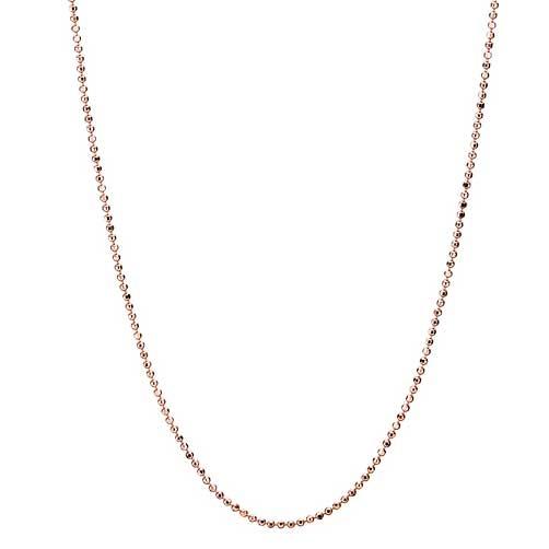 Kuglehalskæde i rosaforgyldt Sølv - 1,15 mm fra 40 cm